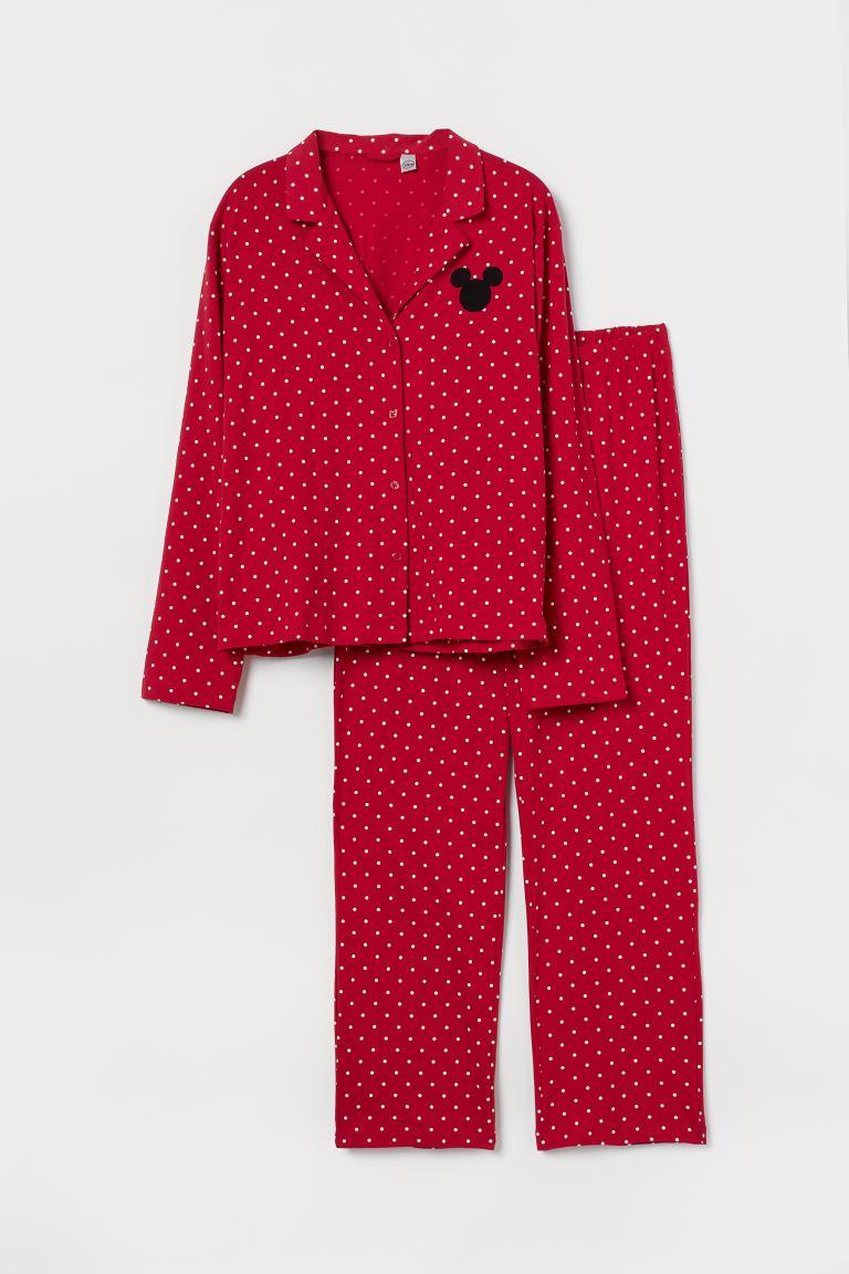 H&M+ Gemusterter Jerseypyjama - Rot/Micky Maus - Ladies   H&M AT 4