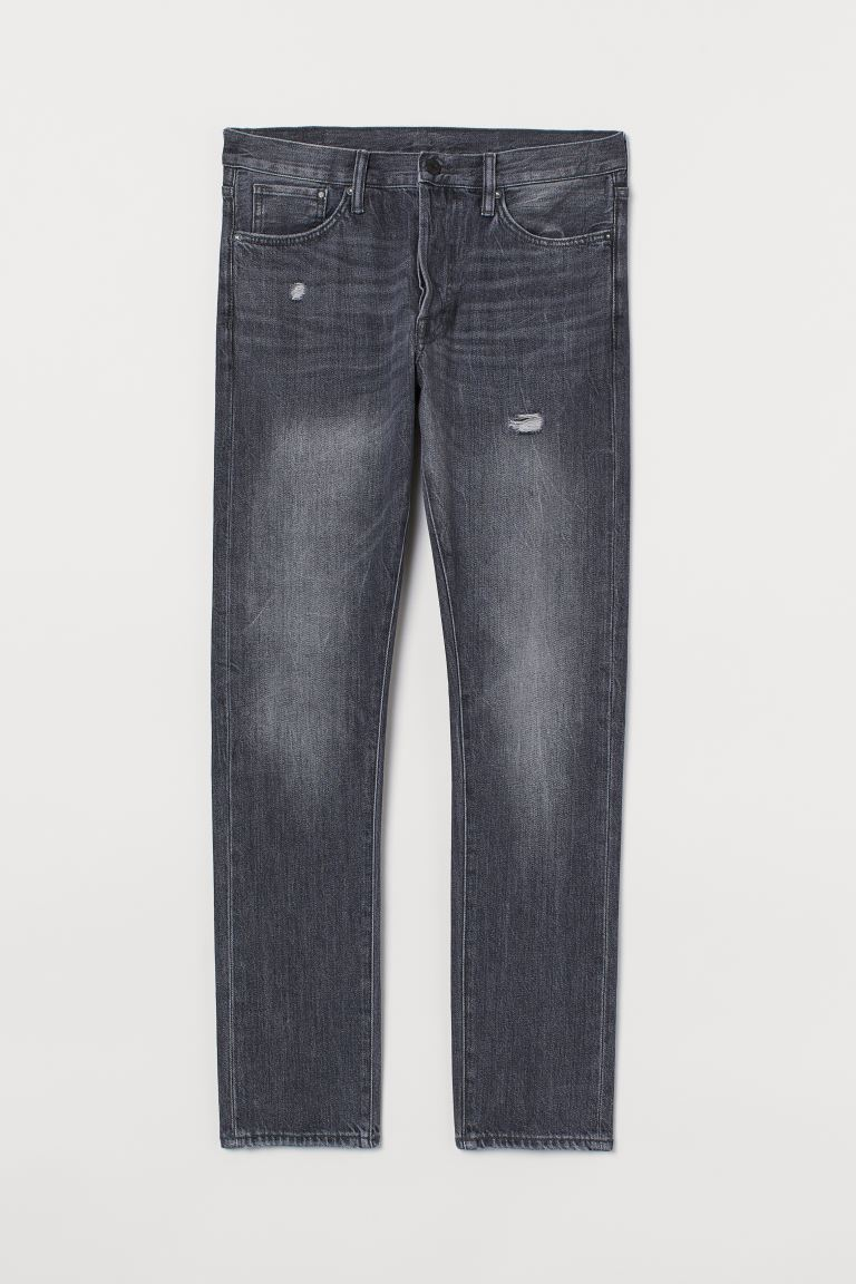 Slim Straight Jeans - Dunkelgrau/Trashed - Men | H&M AT