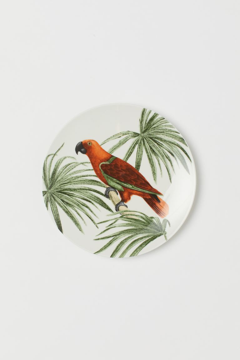 Porcelain Plate - White/parrot - Home All | H&M US