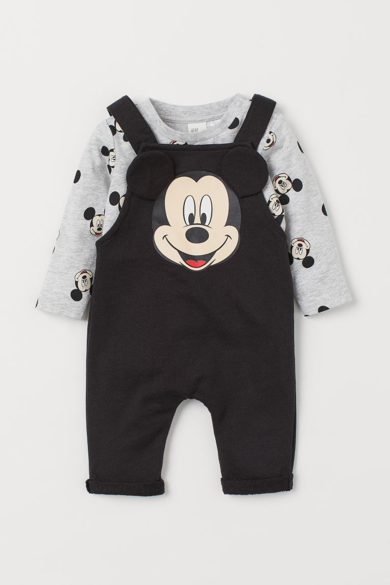 2-piece printed set - Black/Mickey Mouse - Kids | H&M