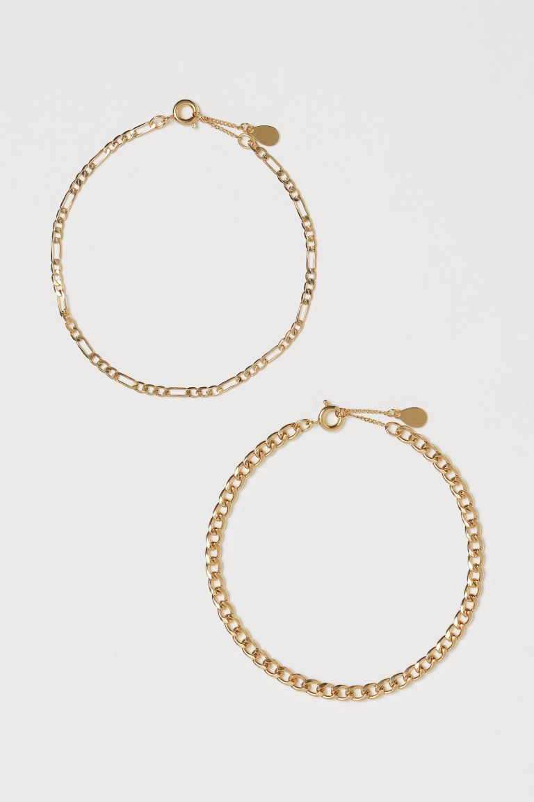 2-pack gold-plated bracelets - Gold-coloured - Ladies | H&M GB