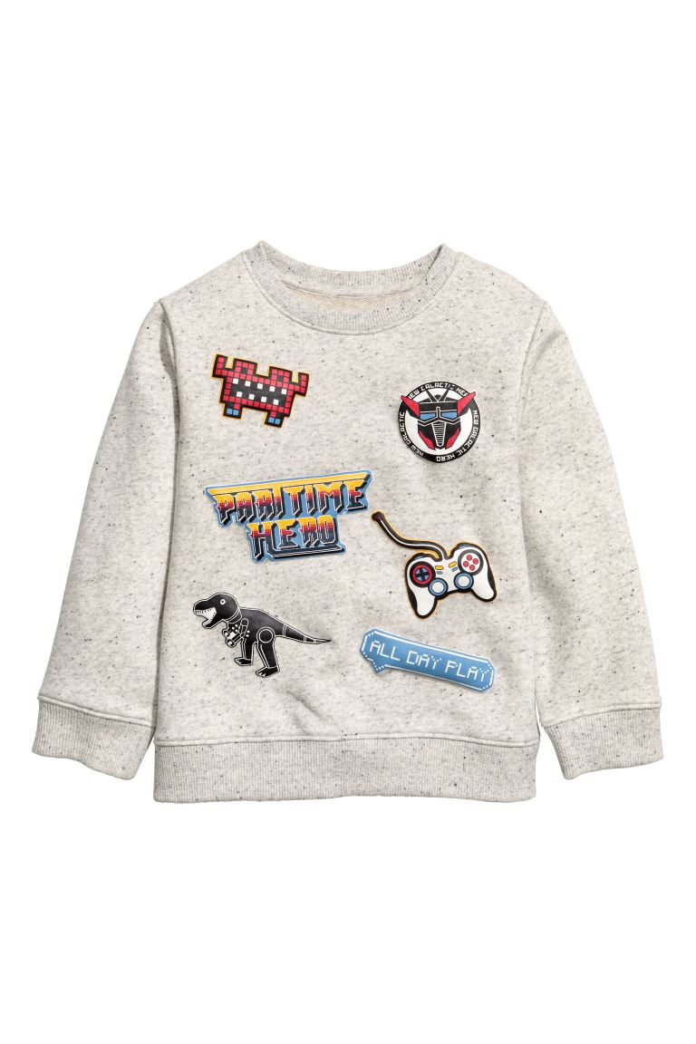 Sweatshirt - Light grey/Nepped texture - Kids | H&M GB