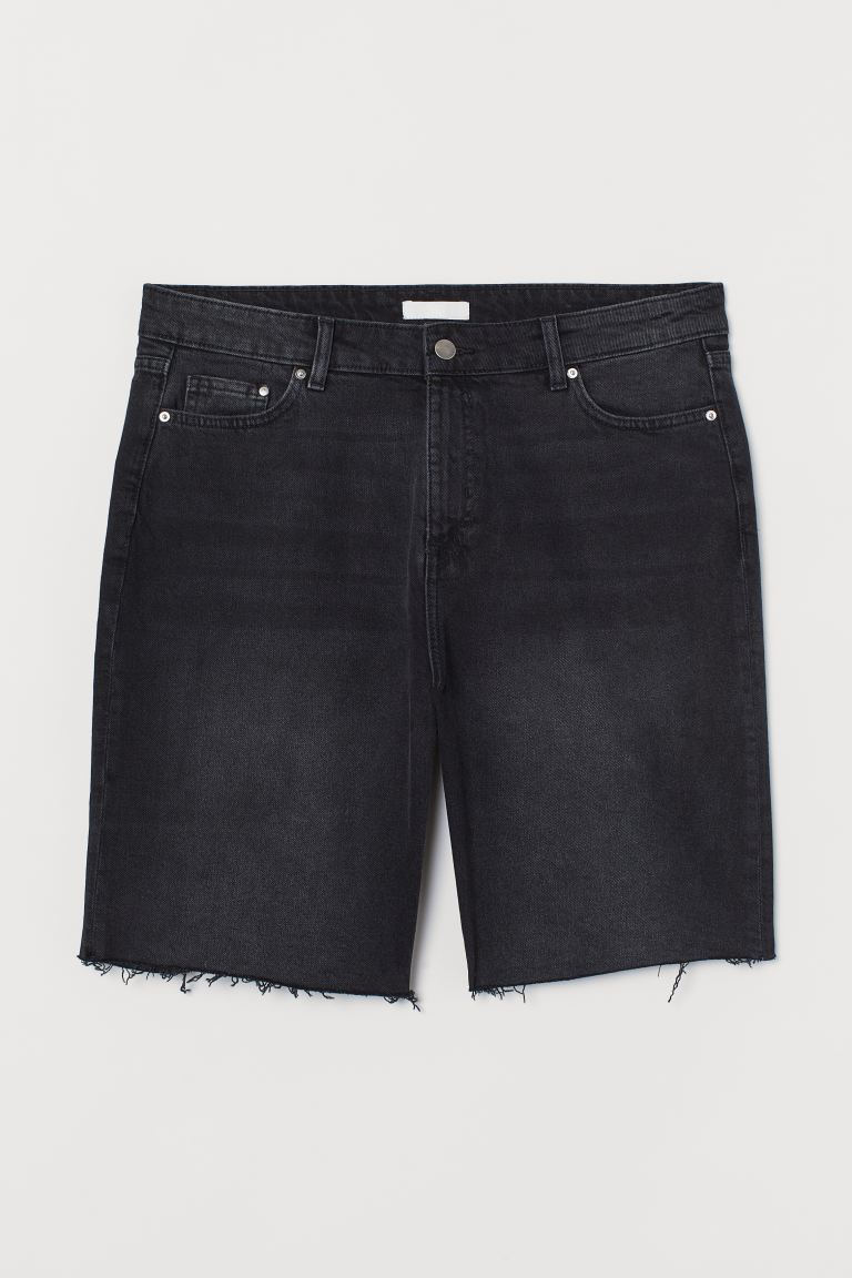 H&M+ Denimshorts High Waist - Sort/Washed out - DAME | H&M DK