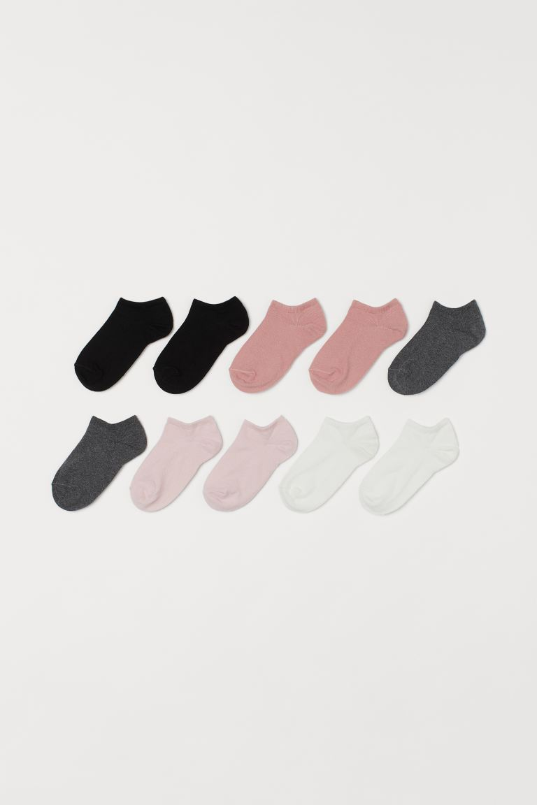 10-pack Ankle Socks - Black/pink - Kids | H&M US