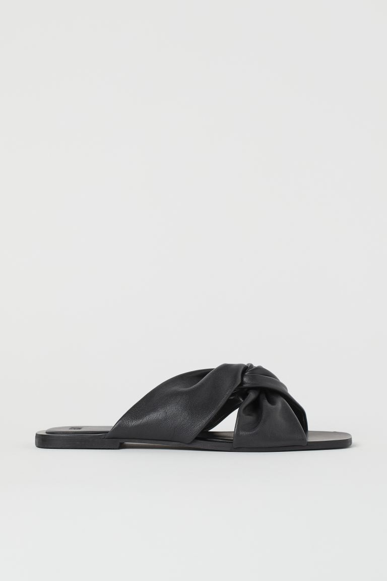Leather slides - Black - Ladies | H&M