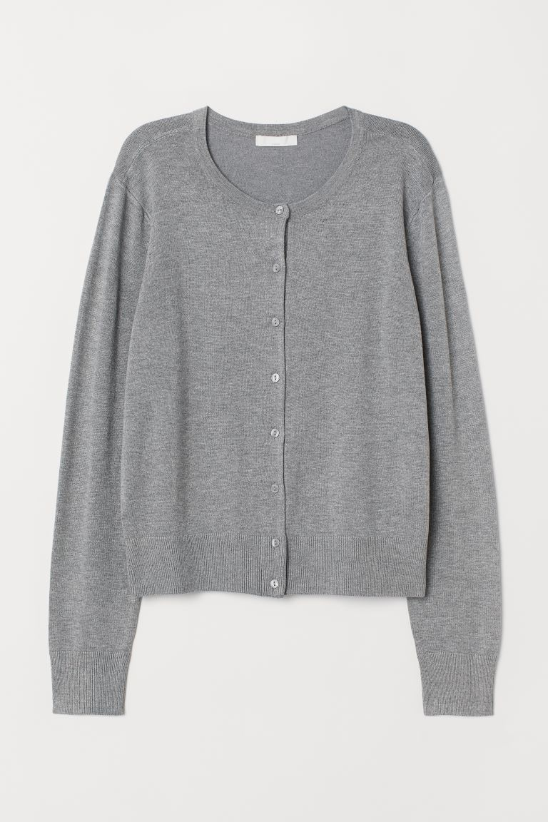 Fine-knit cardigan - Grey marl - Ladies | H&M GB