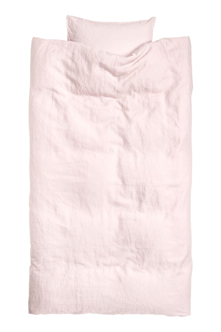 Washed linen duvet cover set - Pink - Home All | H&M GB
