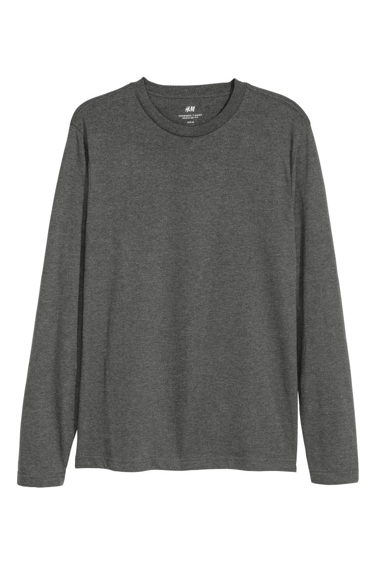 Long-sleeved top Regular Fit - Dark grey marl - Men | H&M