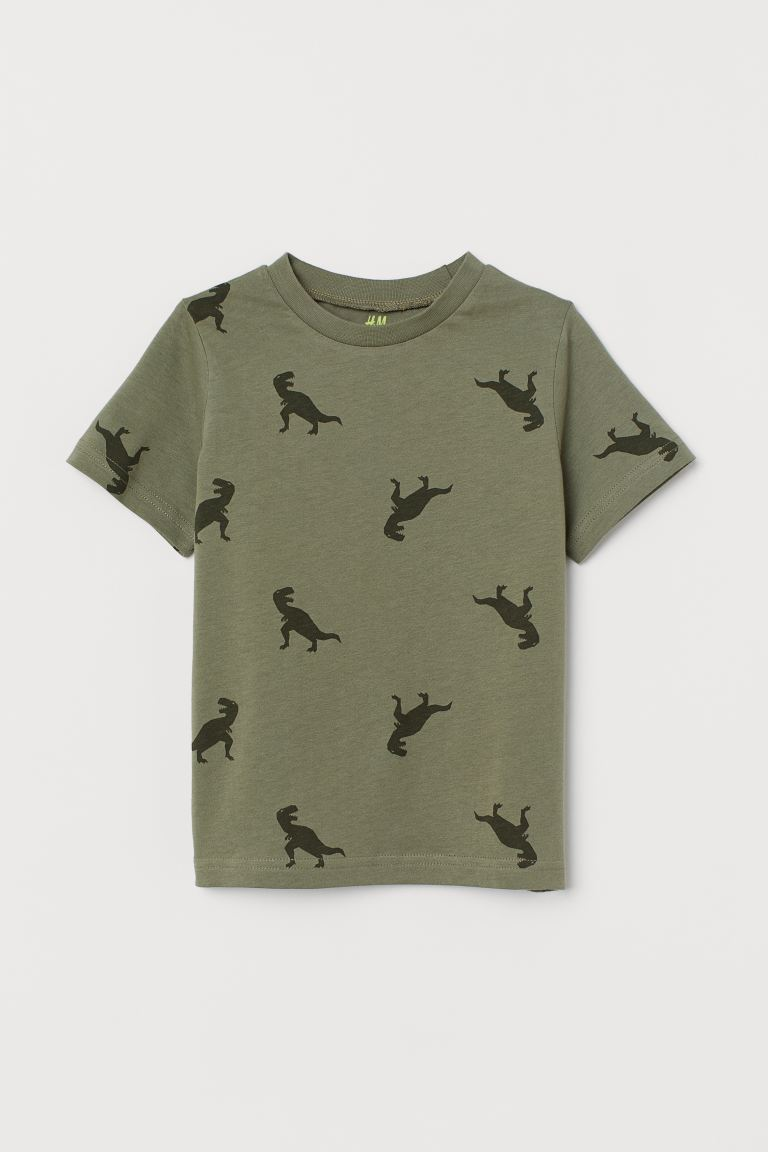 Cotton T-shirt - Khaki green/Dinosaurs - Kids | H&M