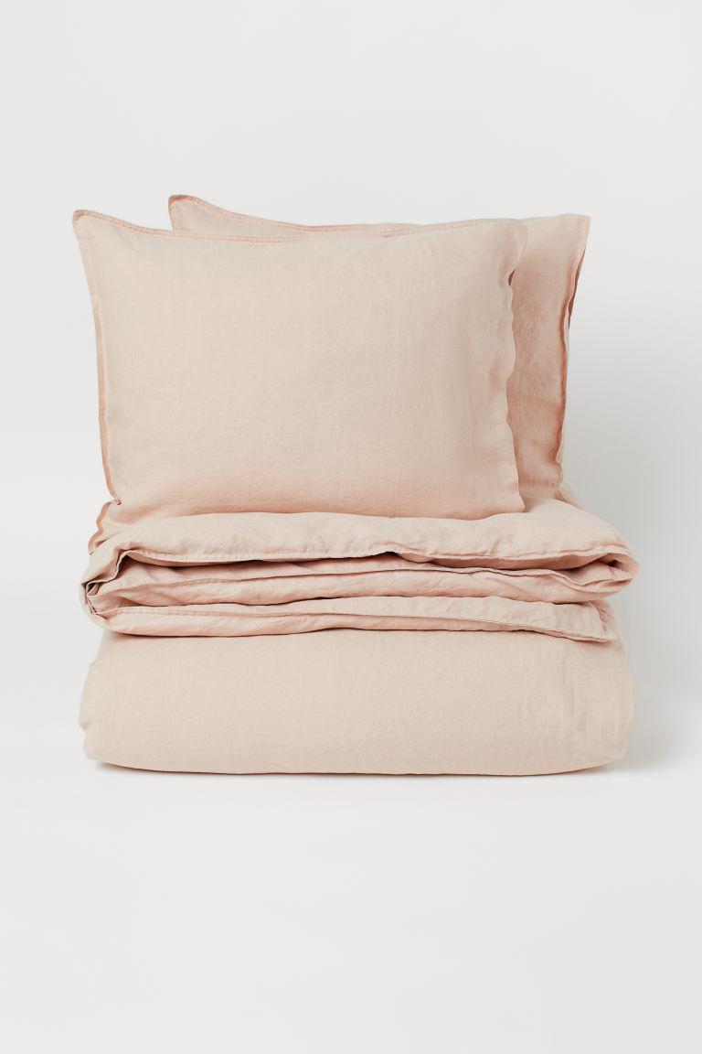 Bettwäsche aus Washed Leinen - Puderbeige - Home All | H&M AT