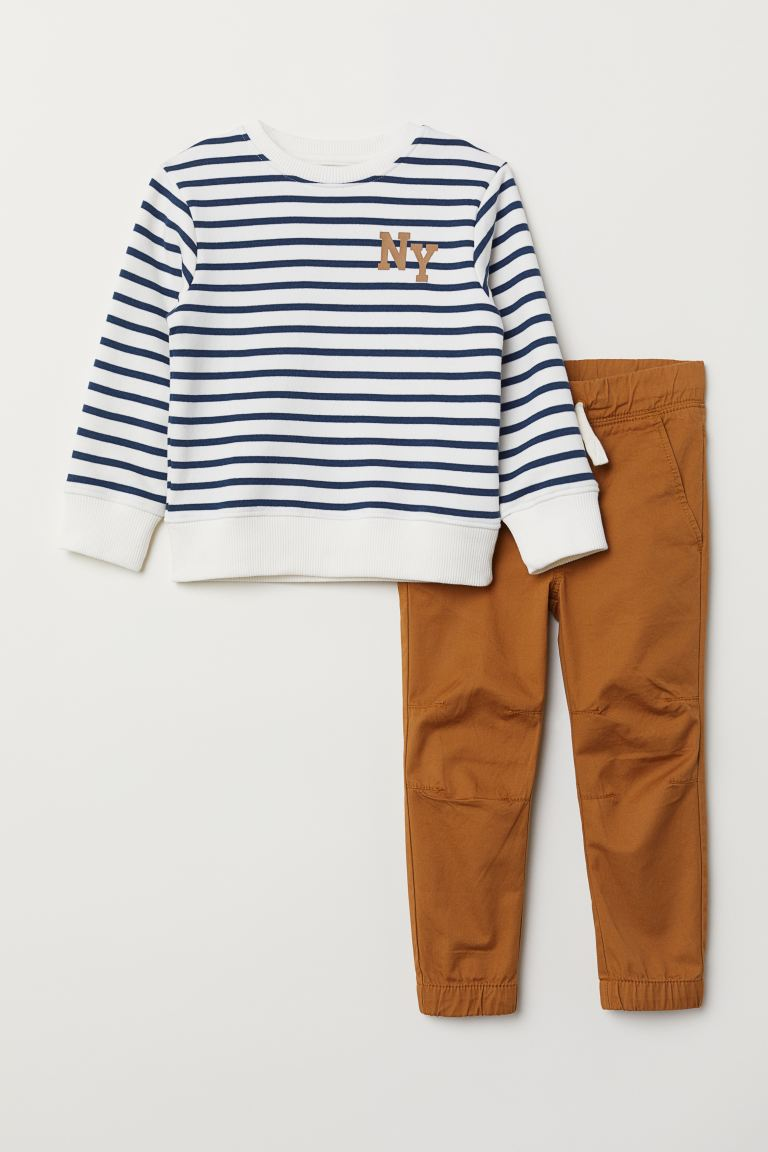 Sweatshirt and Joggers - White/blue striped - Kids | H&M US