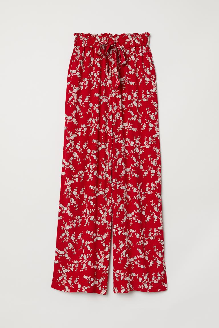 Wide-leg Pants - Red/floral - Ladies | H&M US