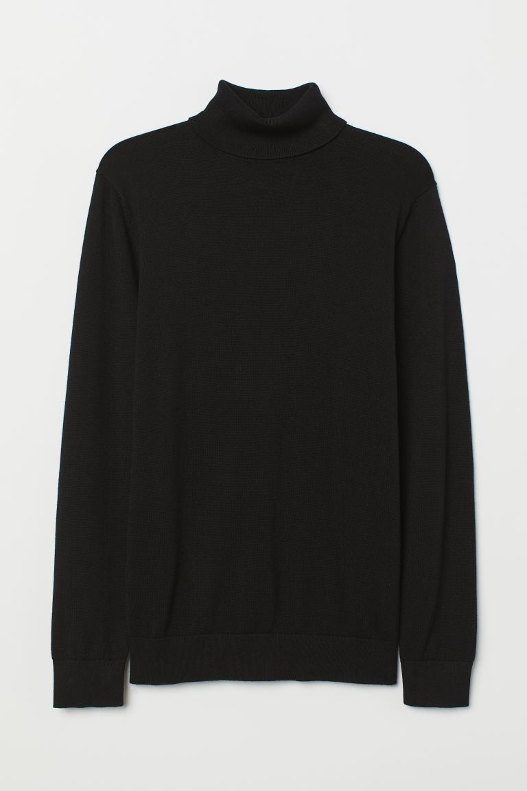 Fine-knit polo-neck jumper - Black - Men | H&M