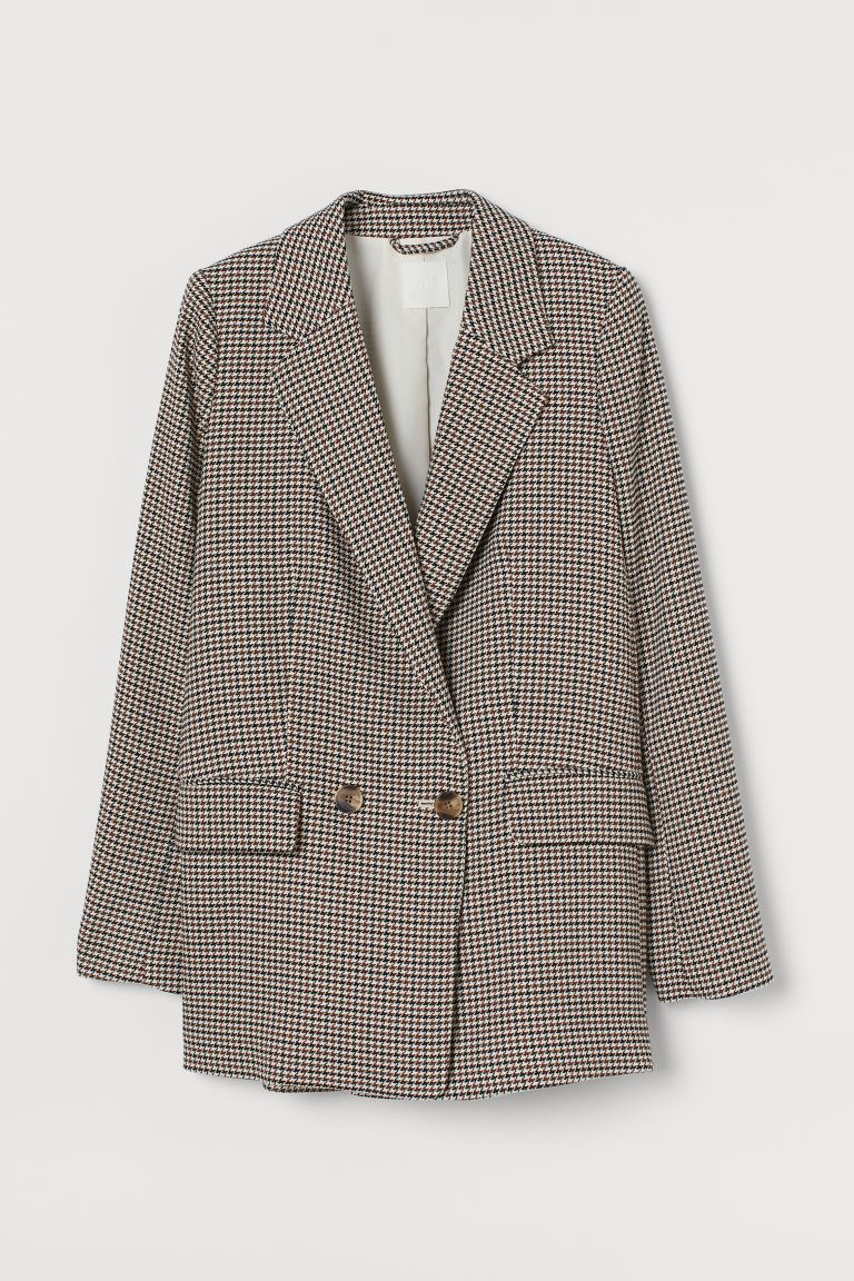 Oversized jacket - Brown/Dogtooth-patterned - Ladies | H&M GB