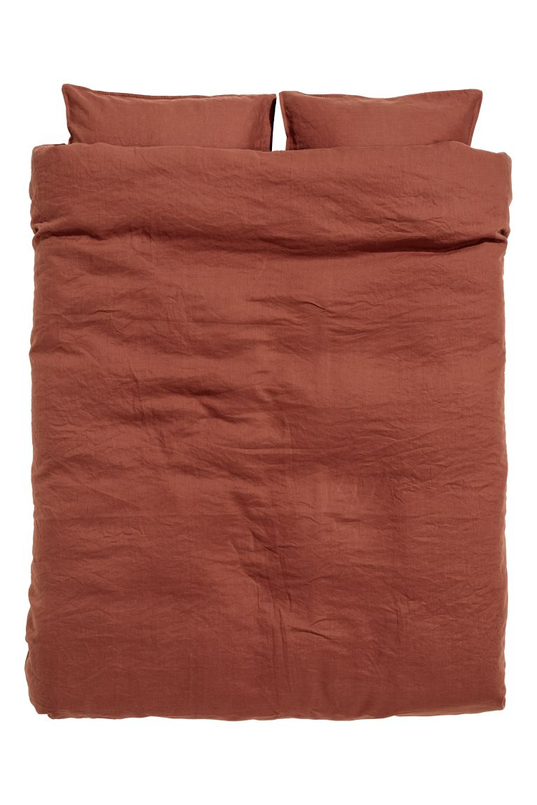 Washed Linen Duvet Cover Set - Rust - Home All | H&M CA