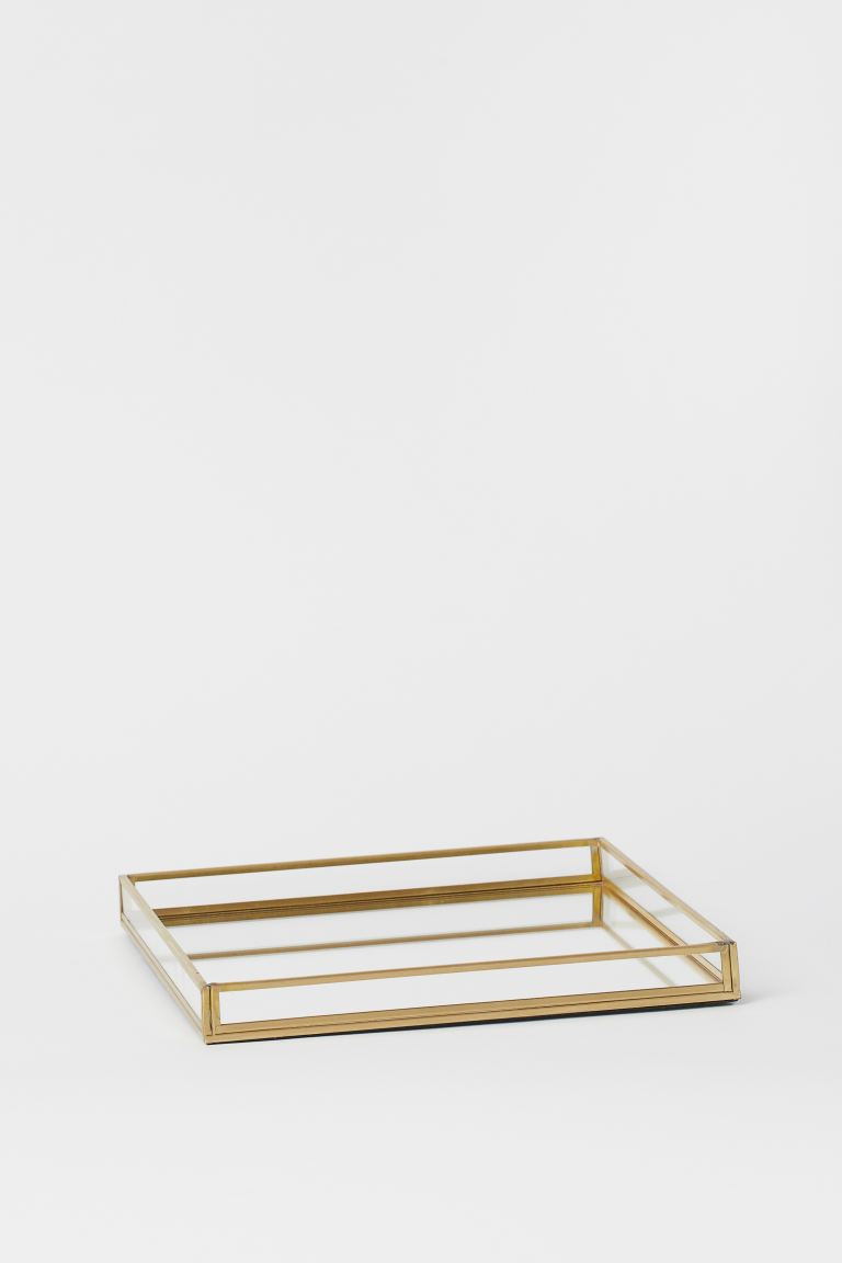 Square Clear Glass Tray - Gold-colored - Home All | H&M US