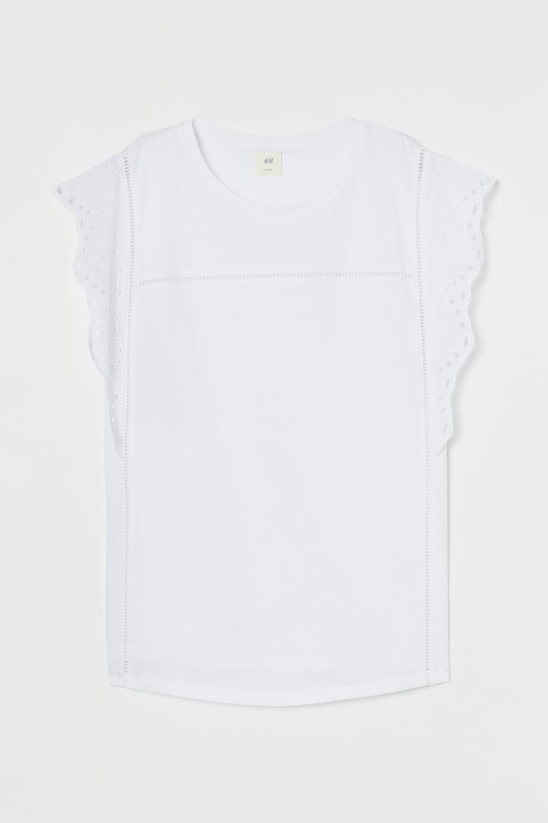 H&M+ Embroidery-detail top - White - Ladies | H&M IN