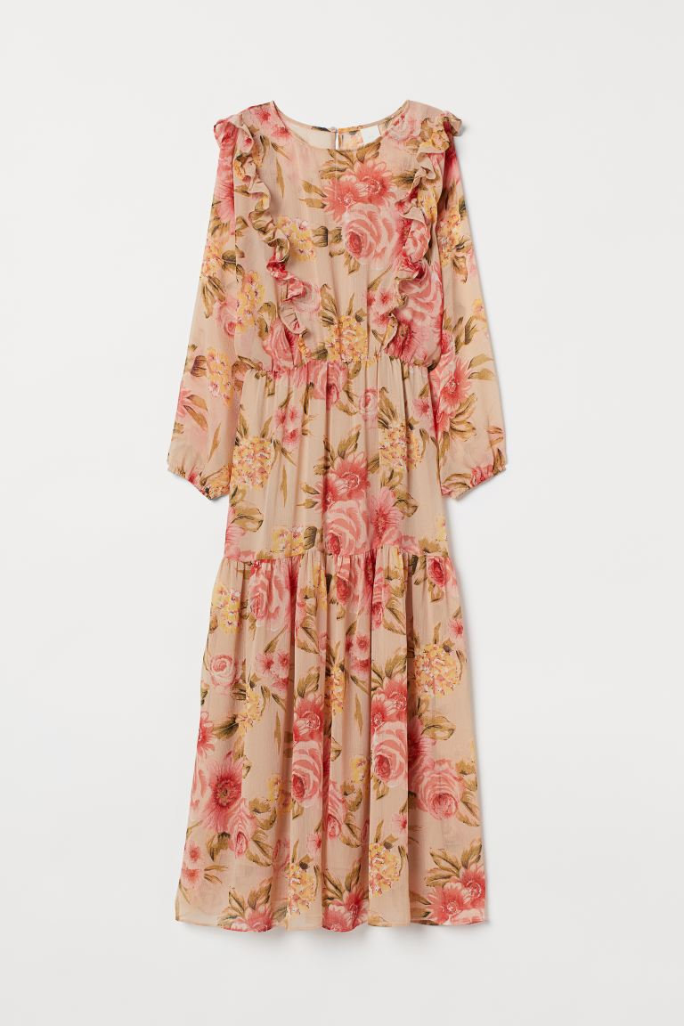 Long tiered dress - Light beige/Floral - Ladies | H&M IE