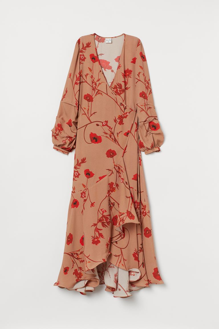 Crêpe wrap dress - Beige/Poppies - Ladies | H&M AU