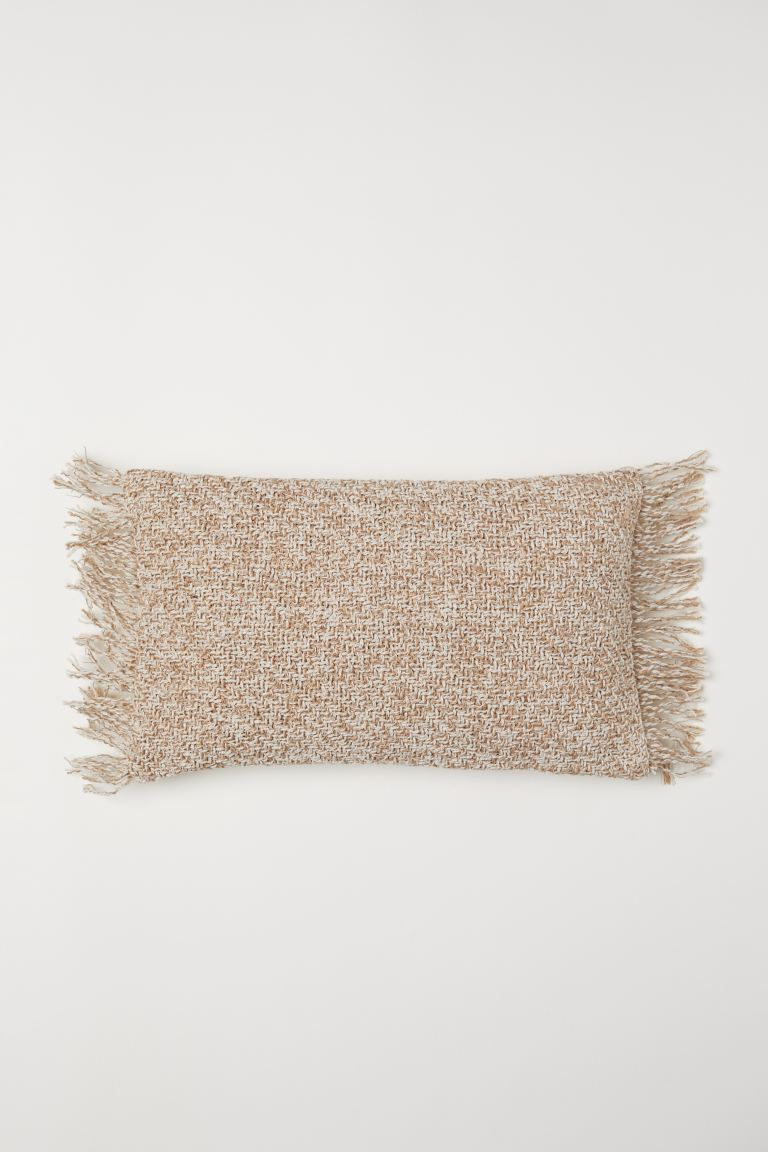 Fringed cushion cover - Light beige - Home All | H&M GB
