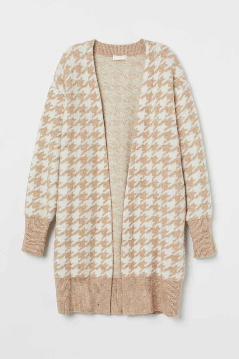 Jacquard-knit Cardigan - Beige/houndstooth-patterned - Ladies | H&M US
