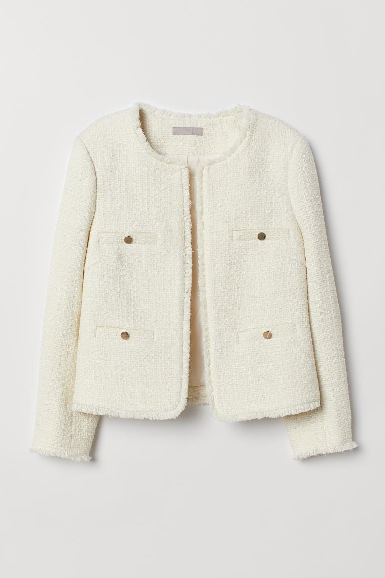 Textured-weave Jacket - Cream - Ladies | H&M US