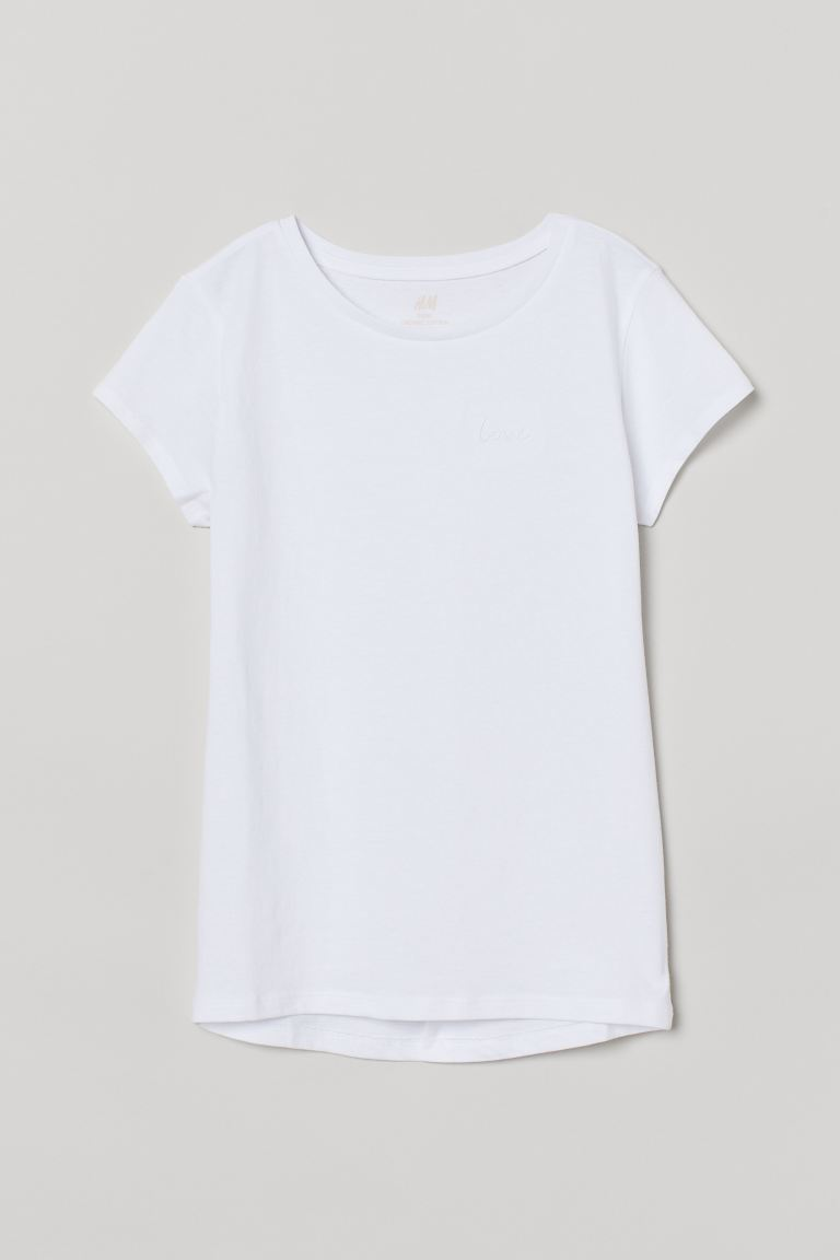 Cotton T-shirt - White/Love - Kids | H&M US