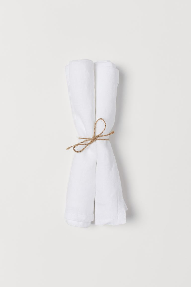 Serviettes en lin, lot de 2 - Blanc - HOME | H&M BE