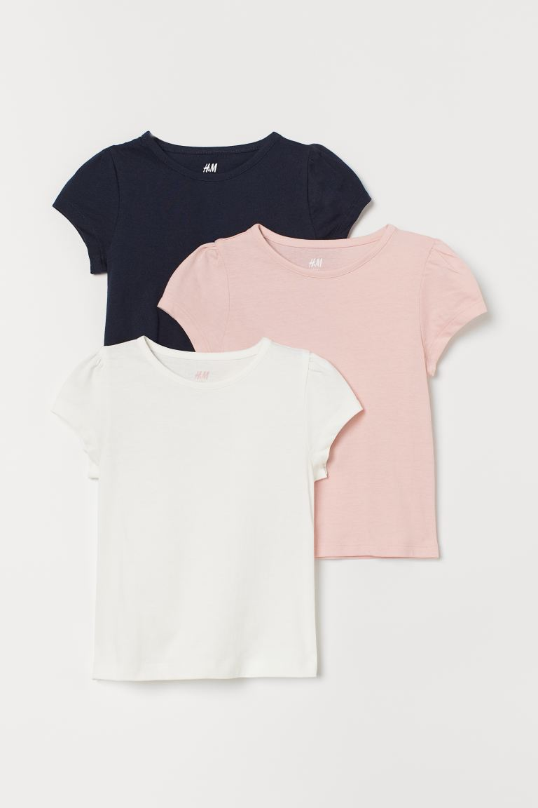 3-pack Puff-sleeved Tops - Light pink/white/navy blue - Kids | H&M US