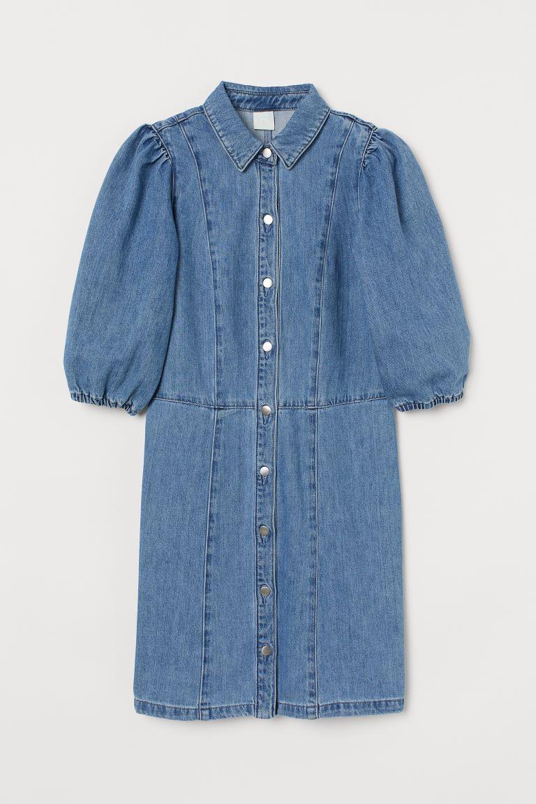 Denim shirt dress - Denim blue - Ladies   H&M GB