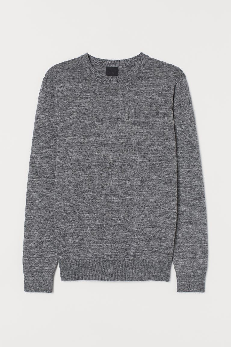 Fine-knit jumper - Grey marl - Men | H&M IN