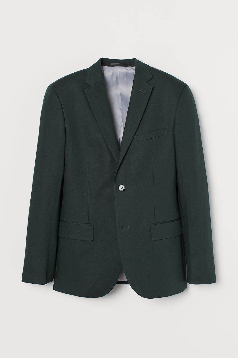Blazer misto lino Slim Fit - Verde scuro - UOMO | H&M IT