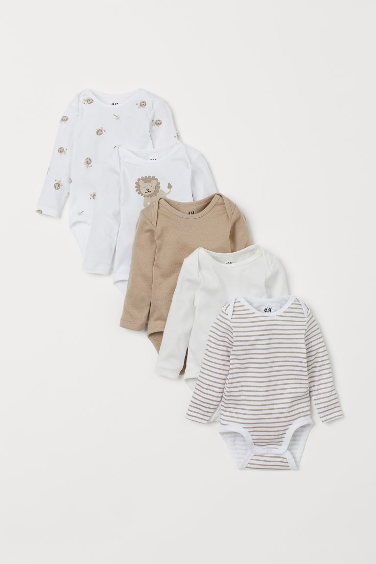 5-pack long-sleeved bodysuits - Beige/Lion - Kids | H&M