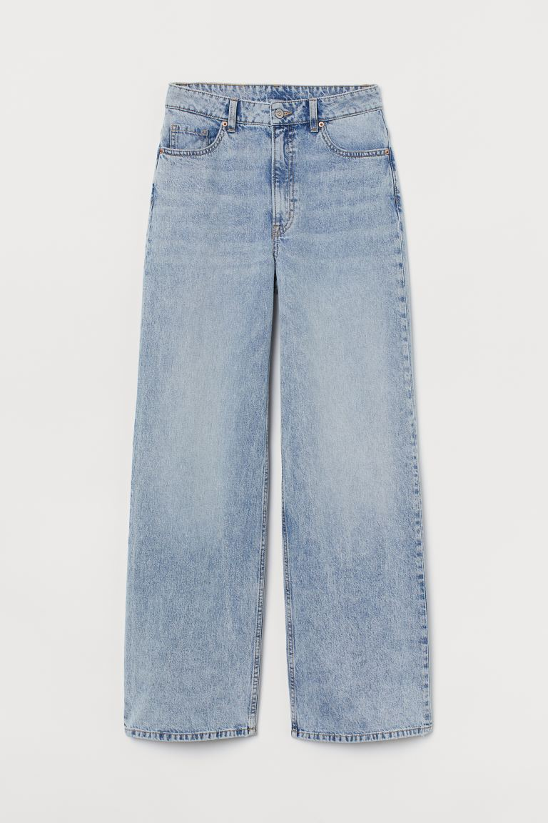 Wide High Jeans - Light denim blue - Ladies | H&M US
