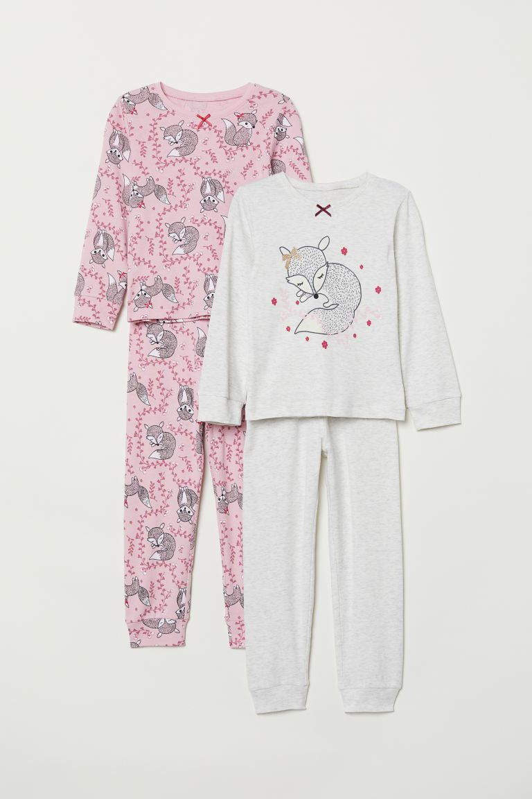 2-pack trikotpyjamas - Rosa/Rev - BARN | H&M NO