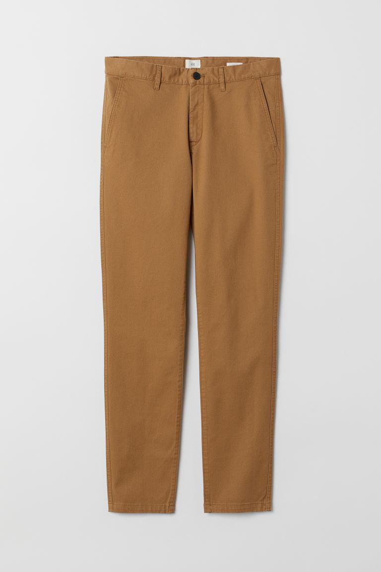 Cotton chinos Skinny Fit - Dark beige - Men | H&M