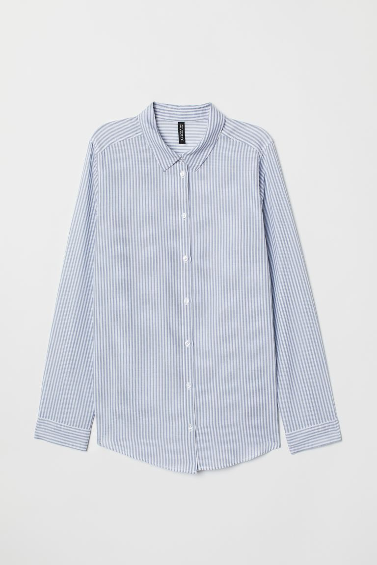 Cotton Shirt - Blue/white striped - Ladies | H&M US