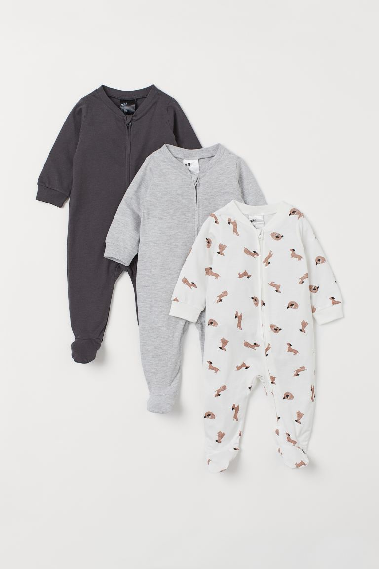 3-pack de pijamas con zíper - Blanco natural/Perros - Kids | H&M MX