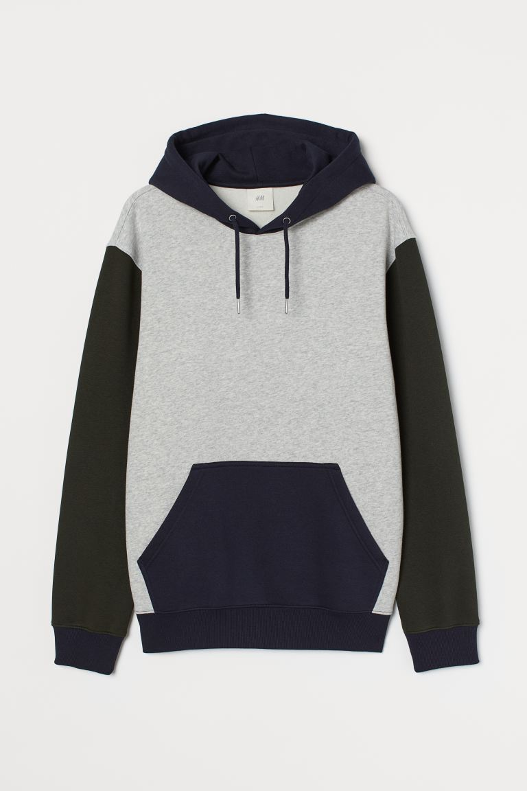 Block-coloured hooded top - Light grey marl - Men | H&M GB