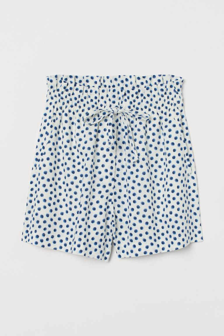 Linen-blend Shorts High Waist - White/blue dotted - Ladies | H&M US