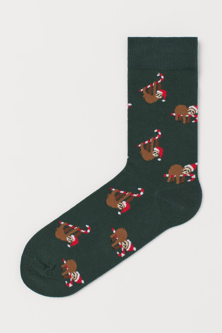 Jacquard-knit socks - Dark green/Sloth - Men | H&M IE