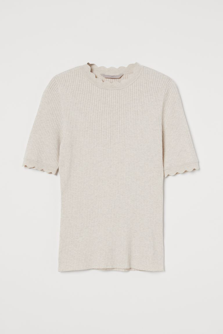 Rib-knit Top - Light beige melange - Ladies | H&M US 3