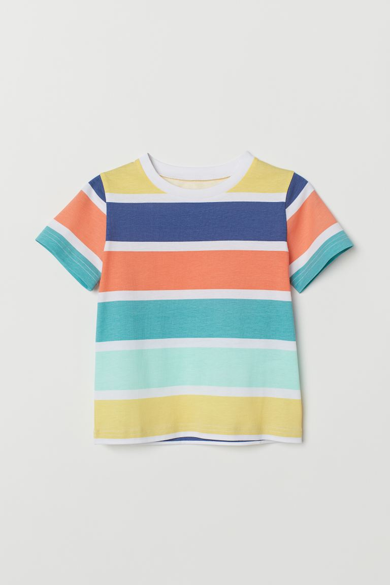 Cotton T-shirt - White/Multicoloured - Kids | H&M IN