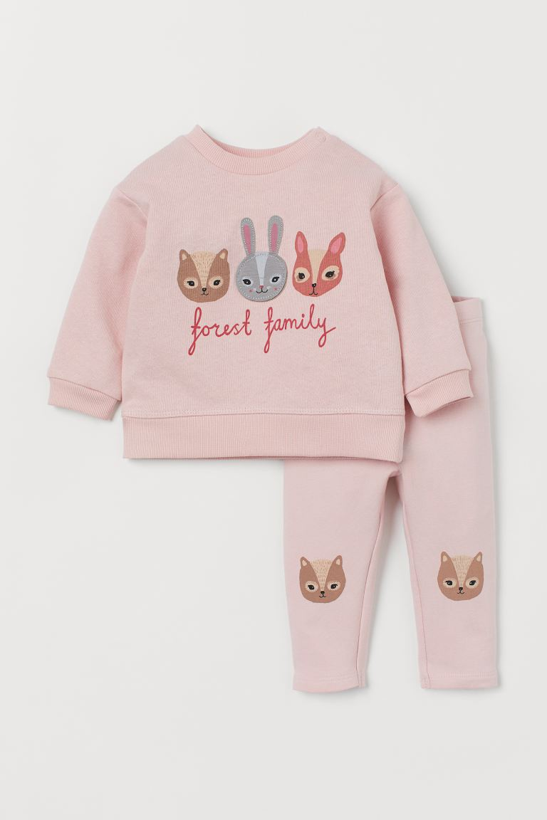 Set de bumbac, 2 piese - Roz-deschis/Forest Family - COPII | H&M RO