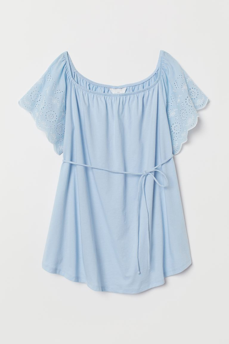 MAMA Off-the-shoulder Top - Light blue - Ladies | H&M US