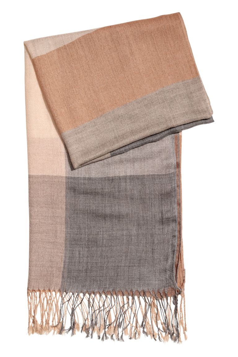 Woven scarf - Grey/Powder pink - Ladies | H&M GB