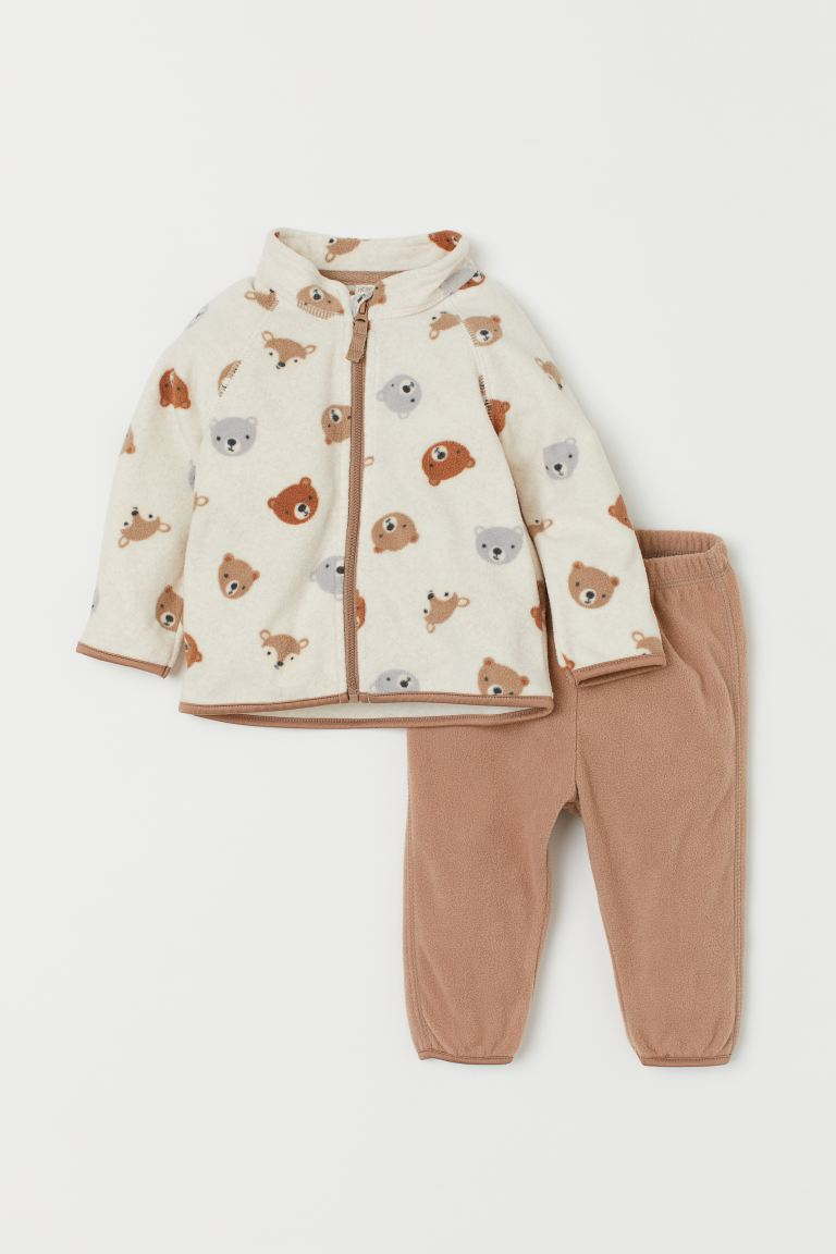 Fleece Jacket and Pants - Dark beige/bears - Kids | H&M US