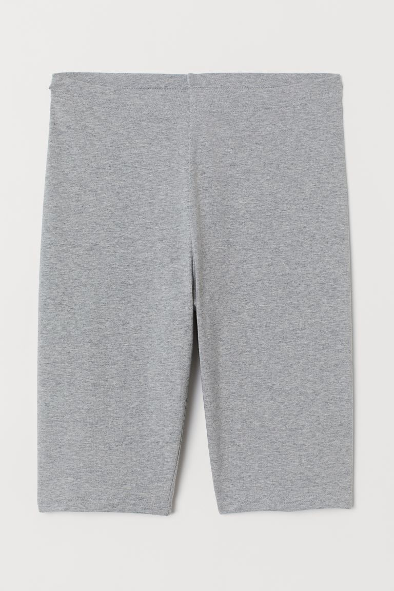 Cotton jersey cycling shorts - Light grey marl - Ladies | H&M GB