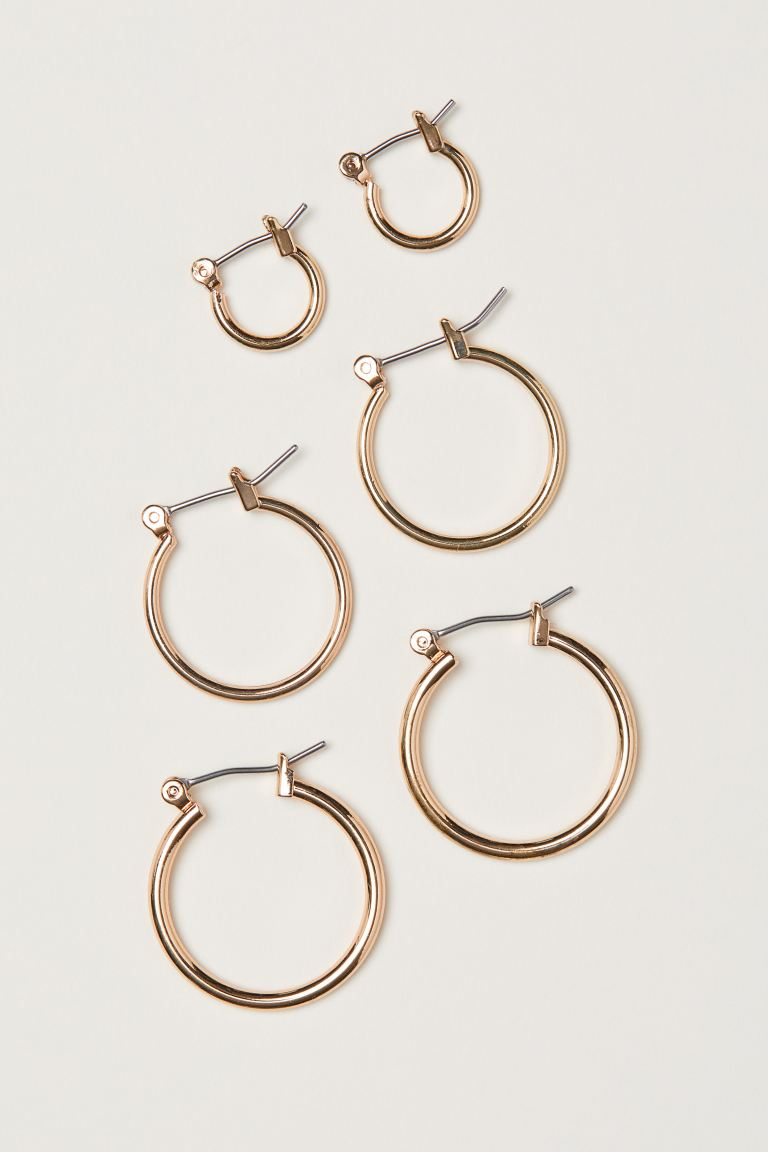 3 pairs earrings - Gold-coloured - Ladies | H&M IN