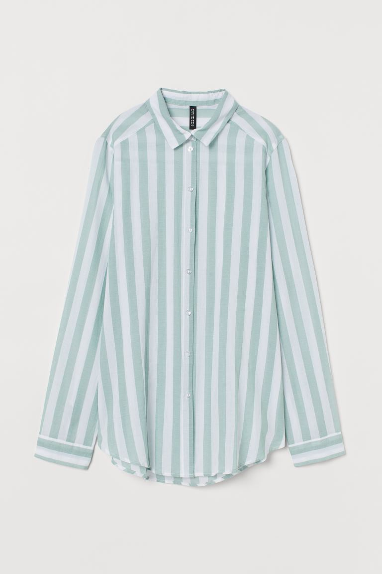 Chemise en coton - Vert menthe/rayures blanches -  | H&M FR
